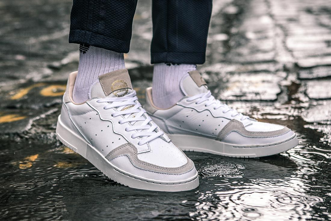 Adidas Supercourt On Foot Standing Water Angle
