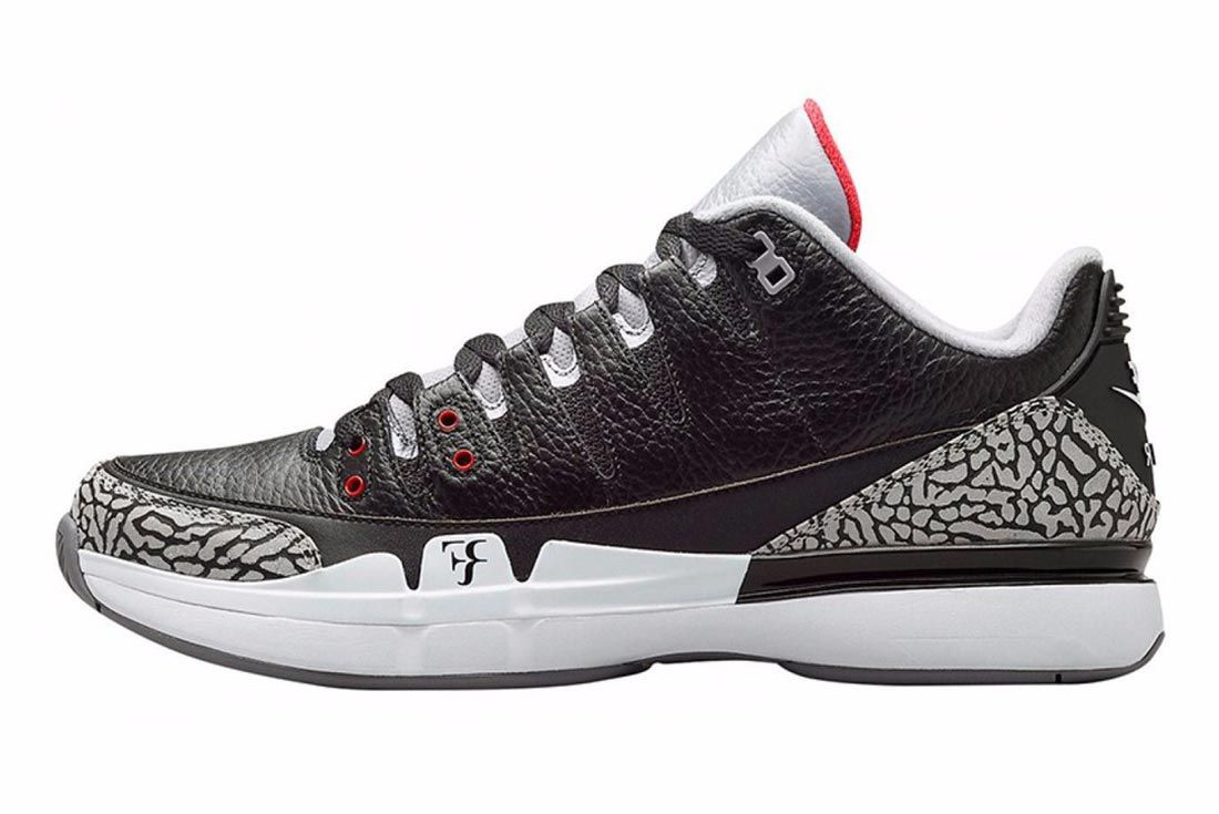 Nikelab Air Jordan 3 Zoom Vapor Black Cement Side Shot