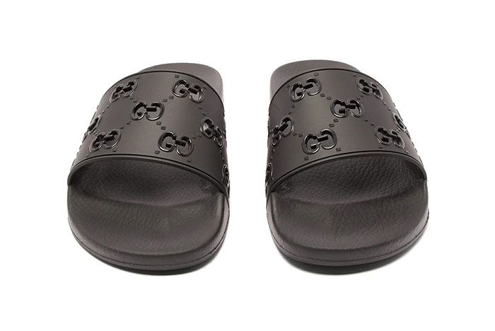 Gucci Gg Cut Out Logo Leather Rubber Slides Black Front Shot
