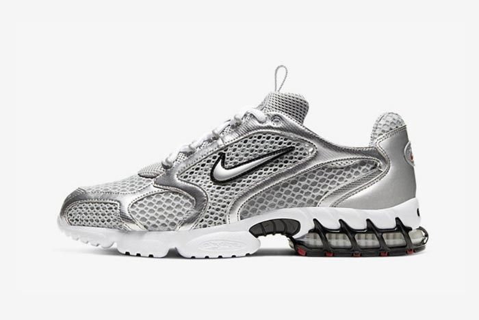 Nike Air Zoom Spiridon Caged Metallic Silver Lateral