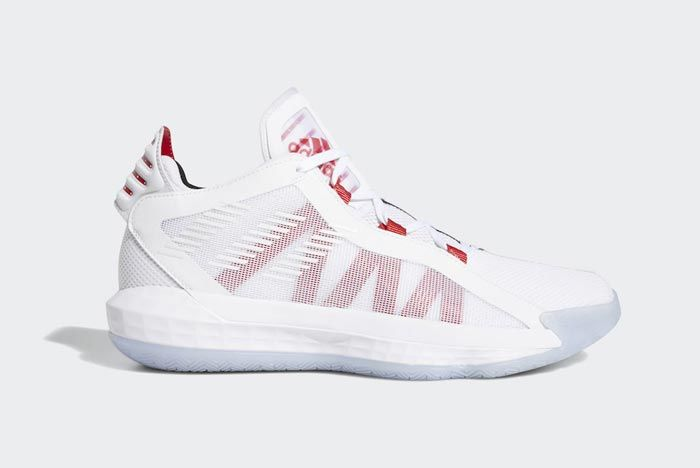 Adidas Dame 6 Cloud White Scarlet Black Lateral