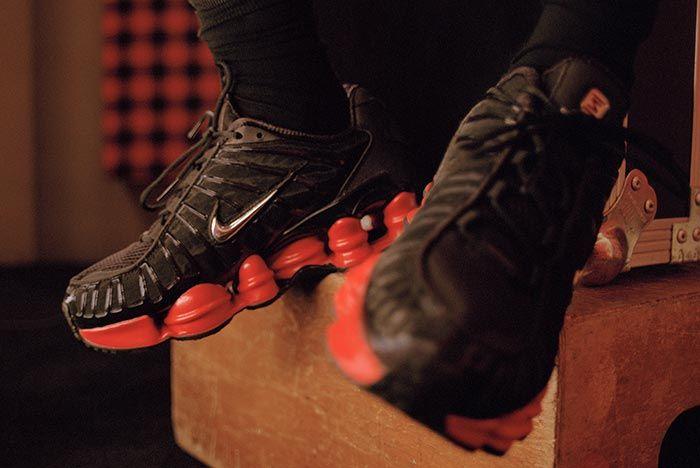 Skepta Nike Shox Black Red On Foot