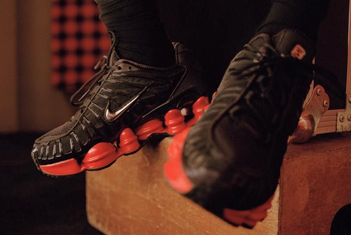 Skepta Nike Shox Black Red On Foot