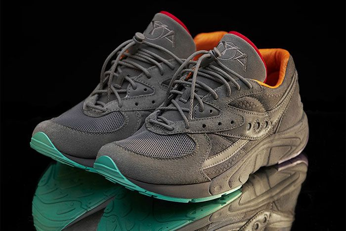 Raised By Wolves Saucony Aya Grey Three Quarter Angled Side Shot