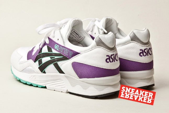 Asics Gel Lyte V Wht Purple Green Pair Heels 1