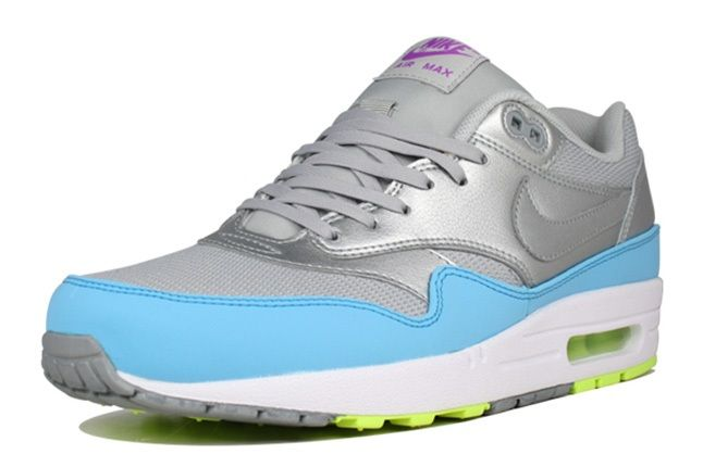 Nike Air Max 1 Fb Metallic Grey Light Blue Volt Quarter Toe 1