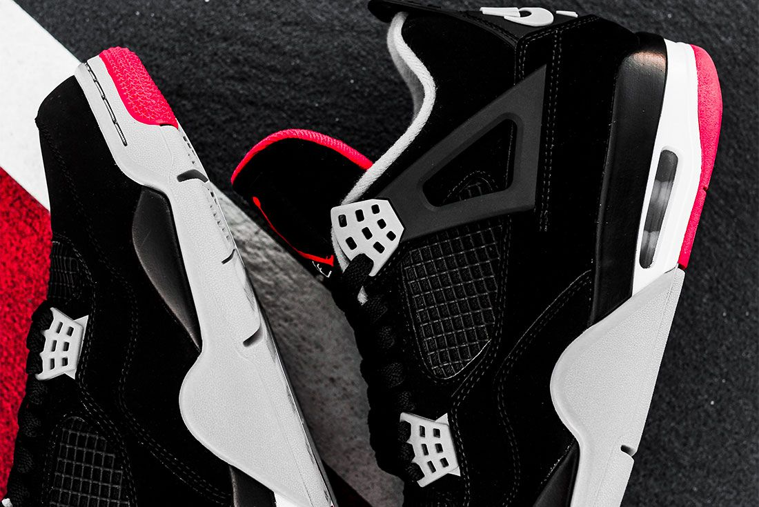 Air Jordan 4 Bred Jd Sports Family Sizes1 Up Close
