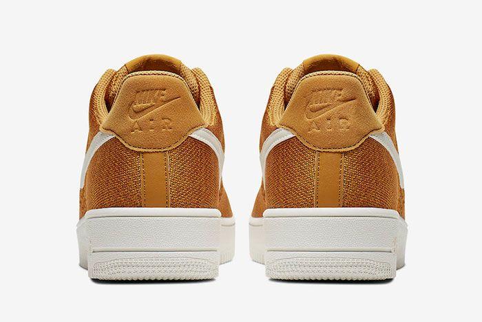 Nike Air Force 1 Flyknit 2 0 Gold Suede Ci0051 700 Release Date 5 Heel