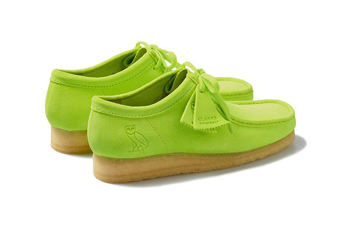 Octobers Very Own Ovo Clarks 2020 Wallabee Neon Rear Angle