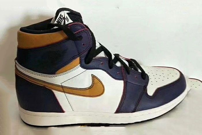 Air Jordan 1 Nike Sb Purple Yellow Side3
