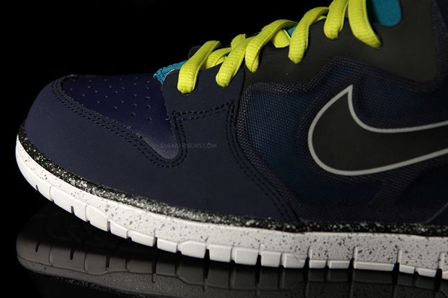 Nike Dunk High Free Navy Yellow Toe Detail 1