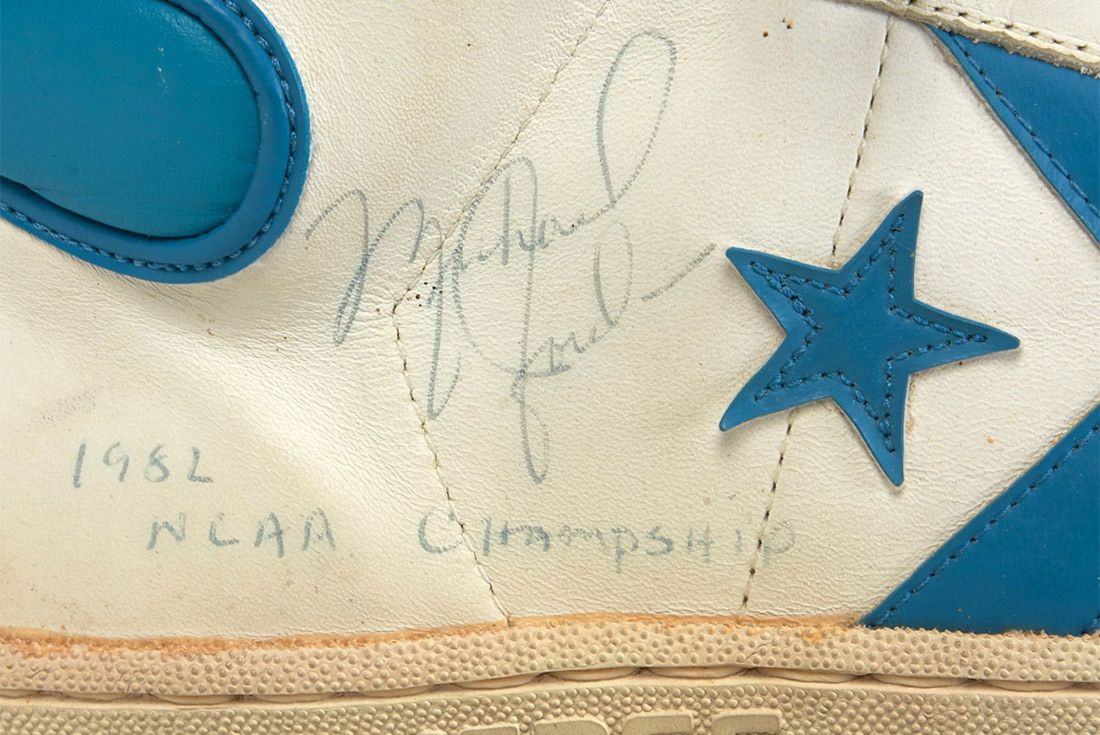 1981 82 Michael Jordan Signed Inscribed Pair Of North Carolina Tar Heel Game Worn Shoes From Freshman Ncaa Championship Season 1