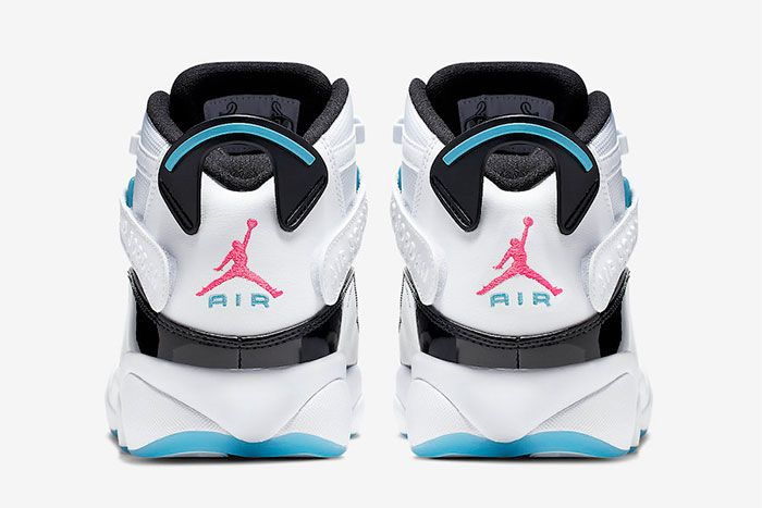 Jordan 6 Rings White Hyper Pink Light Blue Fury Heel