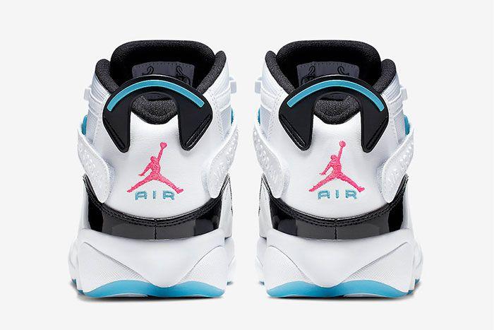 Jordan 6 Rings White Hyper Pink Light Blue Fury Heel