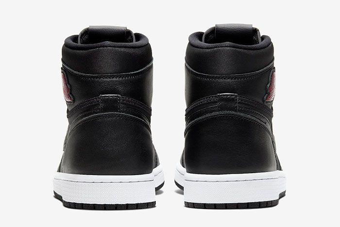 Air Jordan 1 Black Satin Gym Red 555088 060 Heel