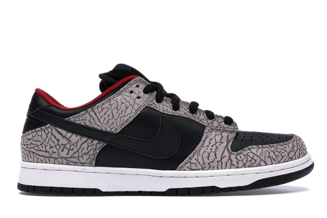 2002 Supreme Nike Dunk Low Black Cement Lateral Side Shot