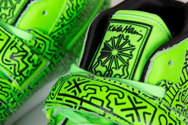 Keith Haring Reebok Classic Workout Mid Strap Neon Green 1