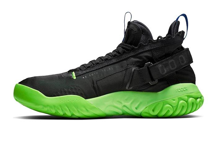Jordan Proto React Black Green Release Medial Side Shot