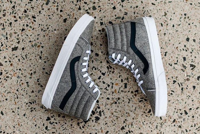 Vans Sk8 High Reissue Varsity Grey Wool Flannel 3