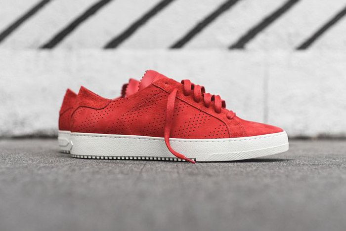 Off White Perforated Striped Sneaker Red 2