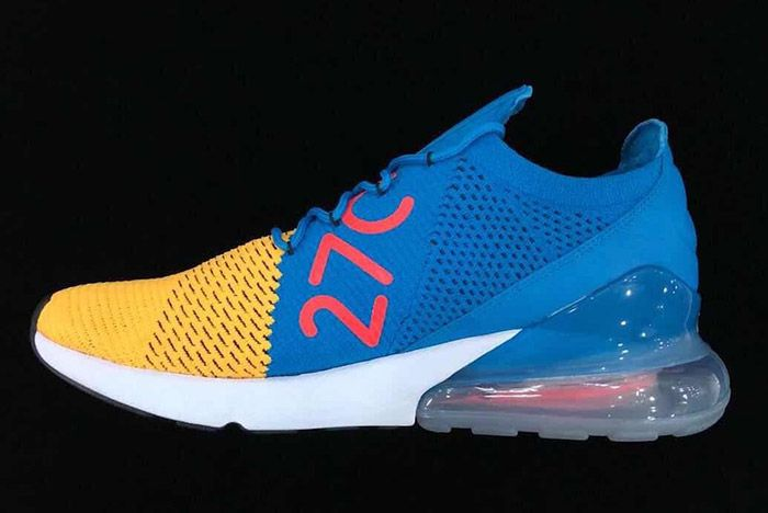 1 Nike Air Max 270 Flyknit Blue Yellow Red 1