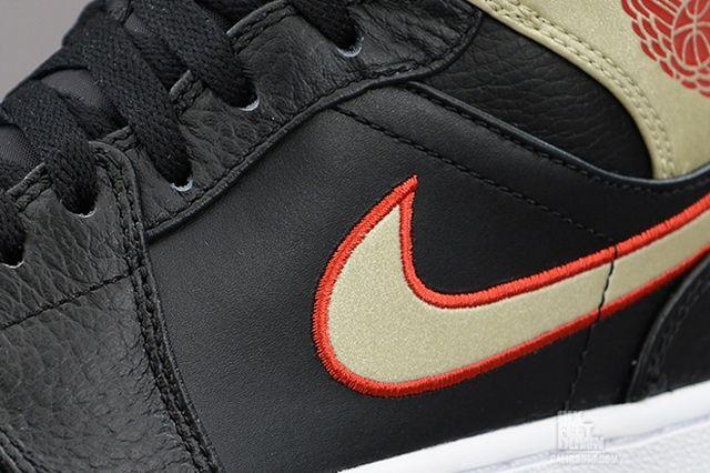 Air Jordan 1 Mid Black Gold Red 2