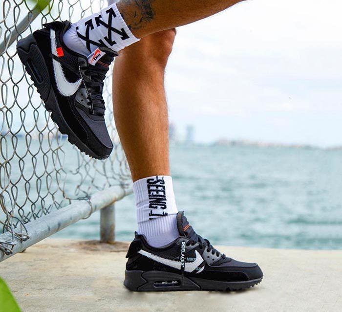On-Foot Look: Off-White x Nike Air Max 90 Black - Sneaker ...