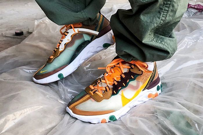 Nike React Element 87 Orange Green Yellow Release Date Pair