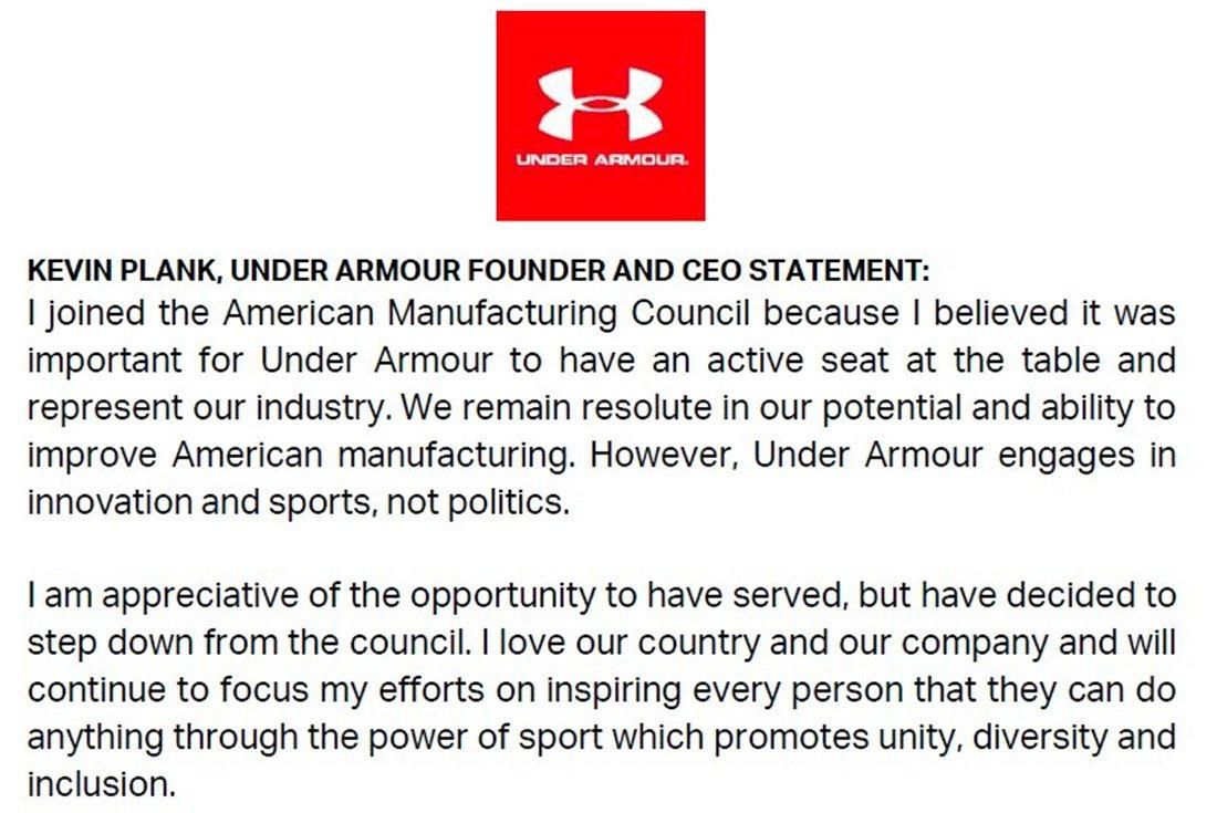 Under Armour Ditches Trump 2