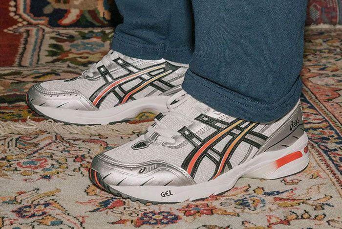 Asics Gel 1090 Silver Steel Grey On Foot Carpet