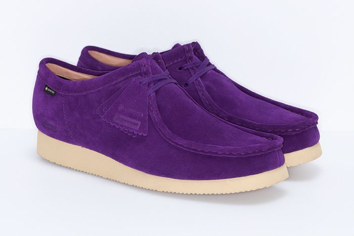 Supreme Clarks Wallabee Gore Tex Vibram Purple Fw19 Release Date Pair