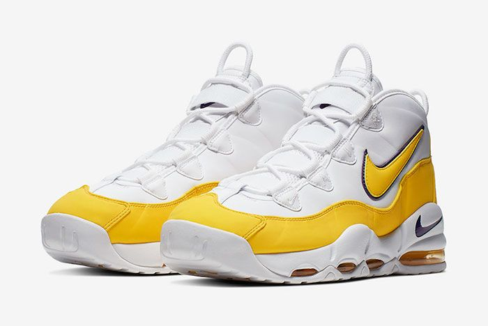 Nike Air Max Uptempo 95 White Amarillo Court Purple Ck0892 102 Front Angled