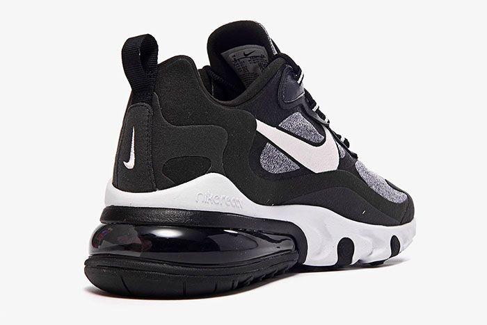 Nike Air Max 270 React White Grey Black Ao4971 001 Heel Angle Shot