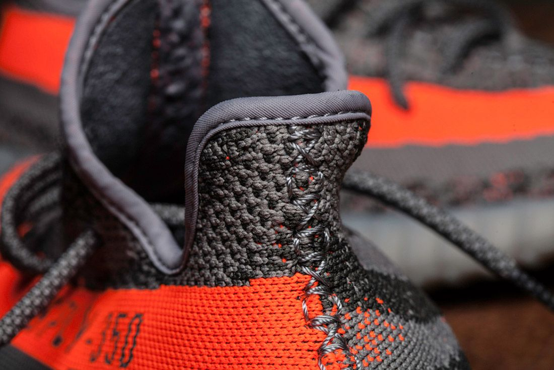 Adidas Yeezy 350 V2 Beluga Grey Orange Close Up 5