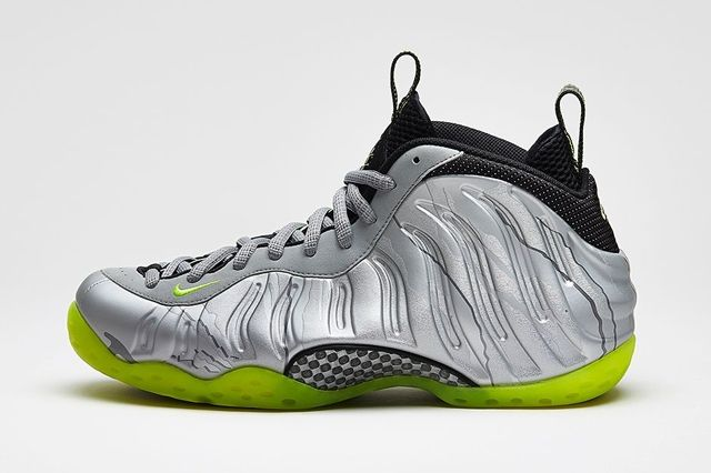 Nike Air Foamposite One Premium Metallic Silver Volt 1