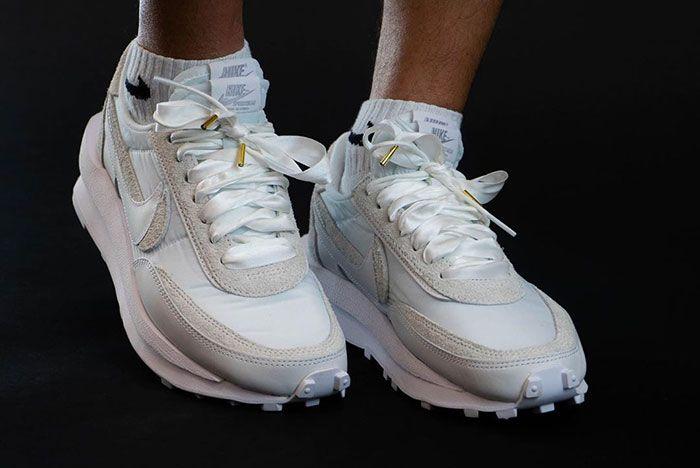Sacai Nike Ld Waffle White Three Quarter On Foot Shot