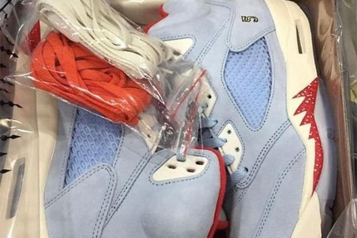 Trophy Room Air Jordan 5 Ice Blue First Look Pair
