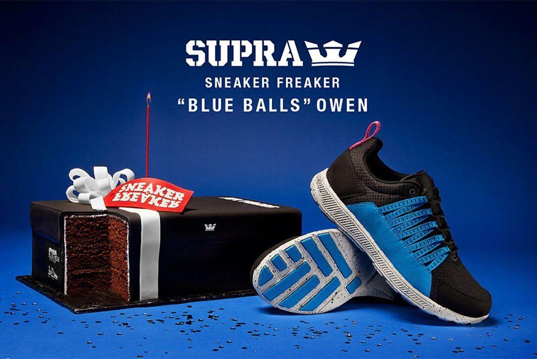 Sneaker Freaker Supra Owen Blue Balls Promo Shot