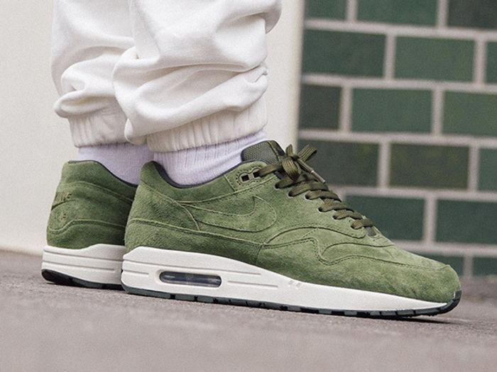 Nike Cover The Air Max 1 In Premium Olive Suede Sneaker Freaker
