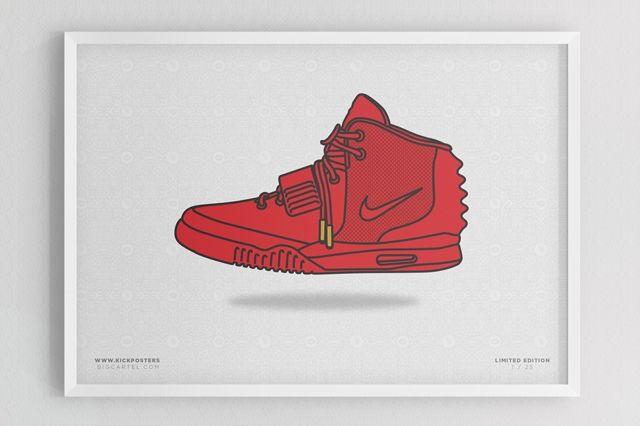 Sneaker Prints Nike Air Yeezy 2 Red
