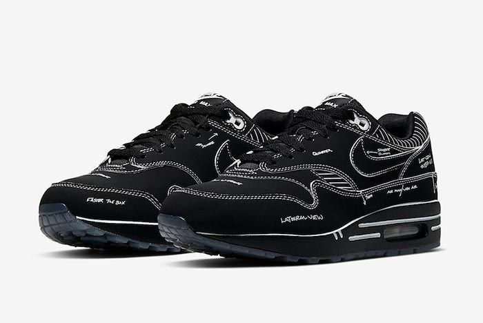 Nike Air Max 1 Tinker Black Schematic Sketch To Self Cj4286 001 Three Quarter Angle Shot