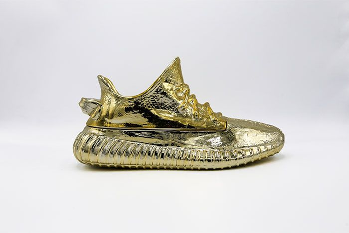 Yeezy Boost 350 Gold Candle Sculpture Side Shot 2