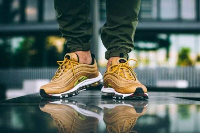 Nike Air Max 97 Metallic Gold On Feet 5