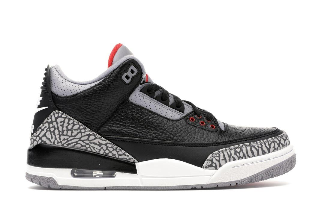 Air Jordan 3 Black Cement Lateral Side Shot