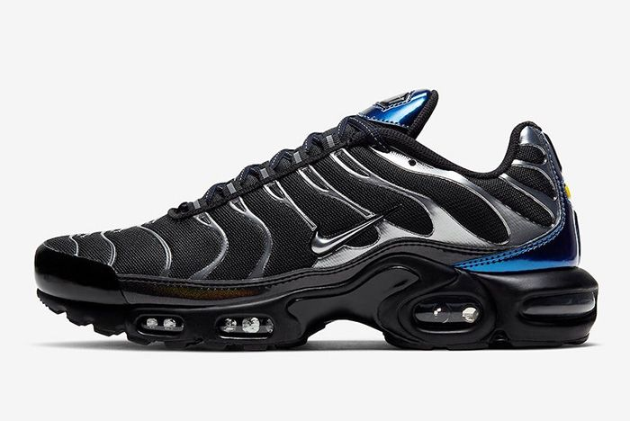 Nike Air Max Plus Black Metallic Silver Cw2646 001 Lateral