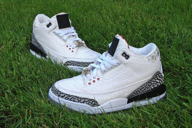Jbf Customs White Snake Jordan 3 For Wale 1