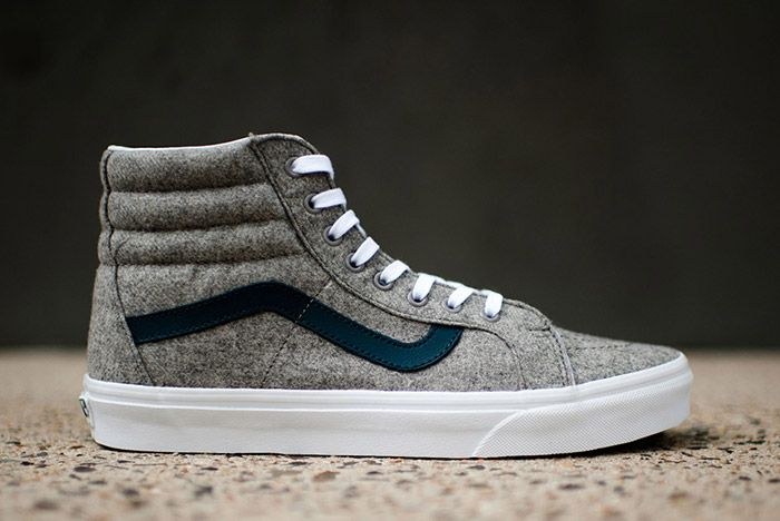 Vans Sk8 High Reissue Varsity Grey Wool Flannel 2