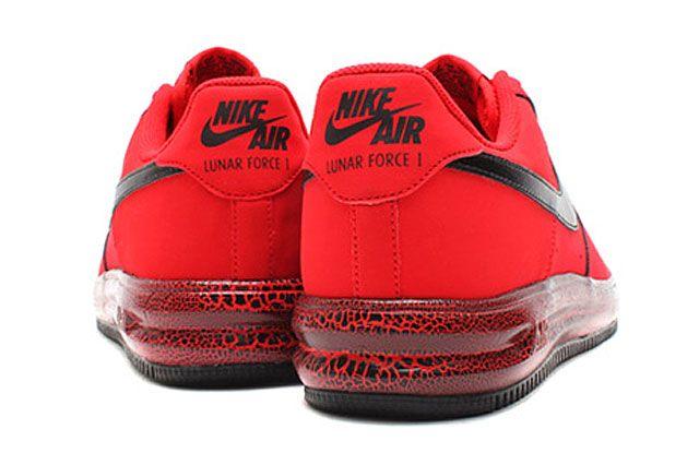Nike Lunar Force 1 University Red Black Heel