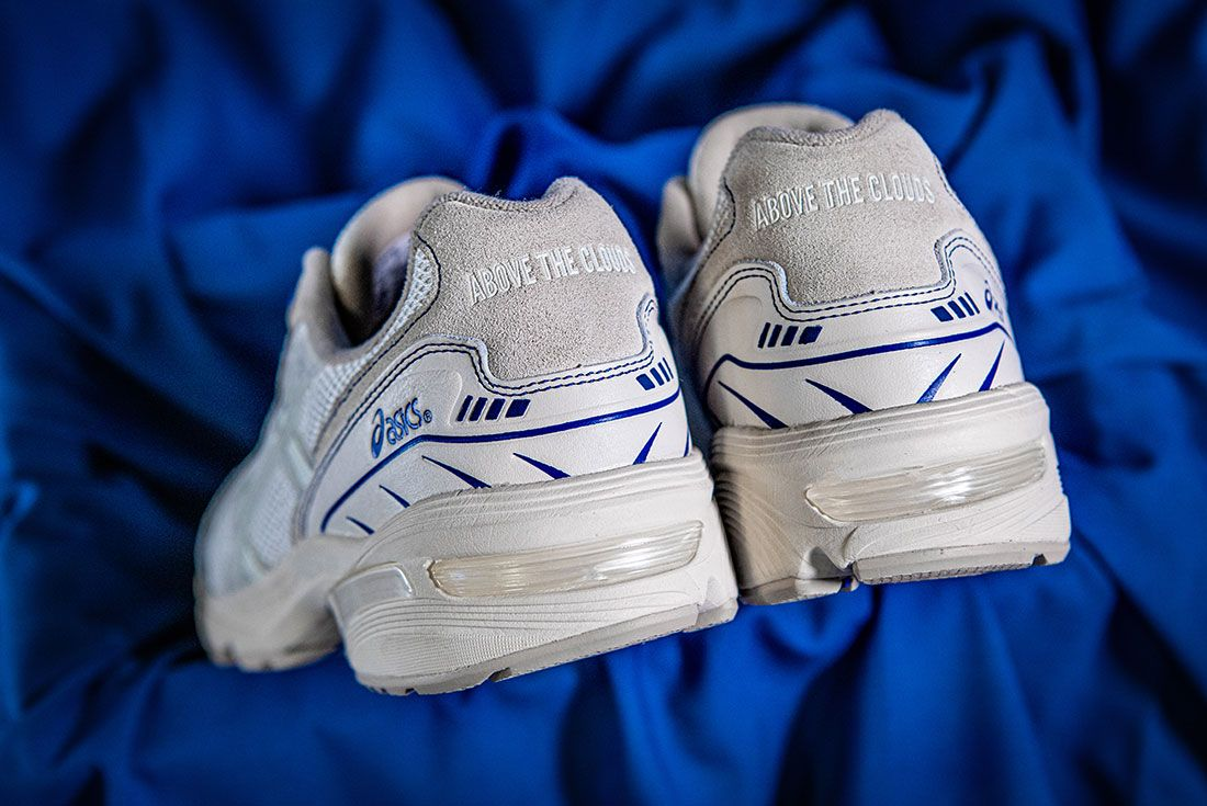 Above The Clouds Asics Gel 1090 Blue Cloth Heels Pair
