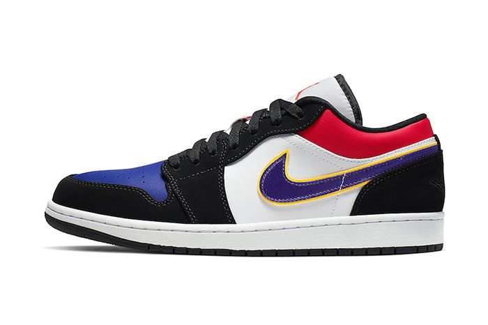 Air Jordan 1 Low Black Court Purple University Gold Bright Crimson Game Royal White Cj9216 051 Release Date Lateral